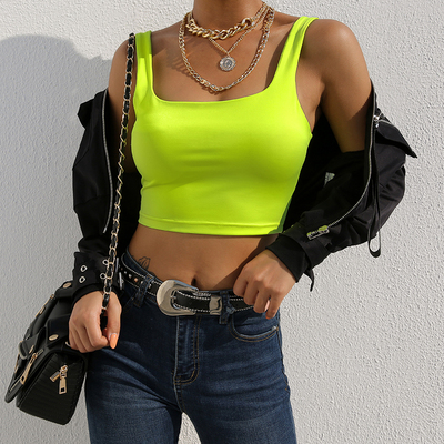 42agent Europe and the United States wind 2019 early spring fluorescent color basic vest sling female short paragraph tight clothes street shoot bottoming shirt tide - Taobao