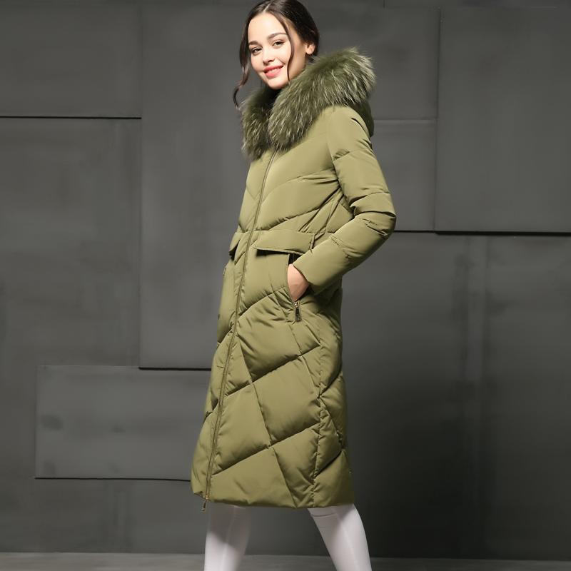 2016冬季新欧美范修身加厚长款羽绒服女拼接格子连帽大毛领长过膝