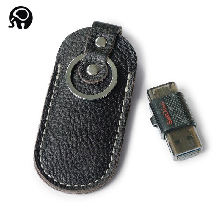 Nhỏ vòng voi da U đĩa set retro đa chức năng móc chìa khóa mini coin bag lớp đầu tiên da U đĩa túi nhỏ