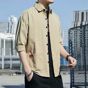 纯棉七分袖衬衫男士夏季薄款休闲衬衣学生