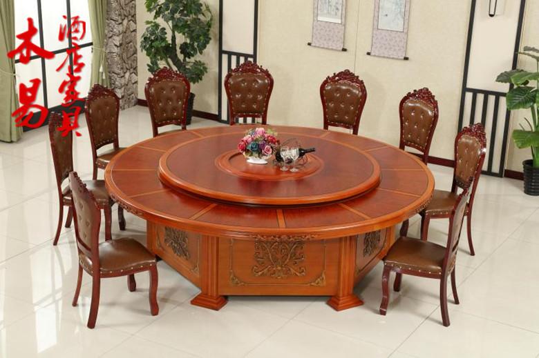 Bàn ăn điện khắc nội thất khách sạn bàn điện khách sạn bàn tròn lớn bàn xoay điện 8 người 10 người 12 người