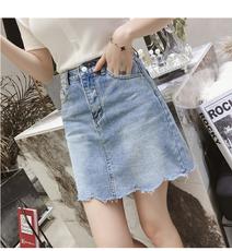 2018夏装新款韩版高腰显瘦A字包臀裙女装ulzzang百搭半身牛仔短裙