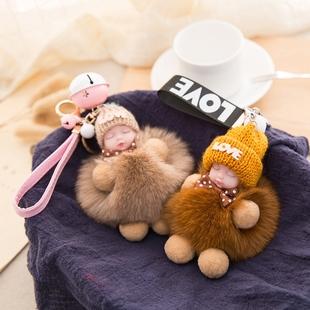 韩国狐狸毛绒小娃娃钥匙挂件