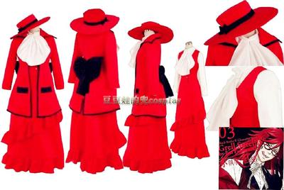 taobao agent Cosplay anime game black butler red lady evening dress cos suit free shipping custom