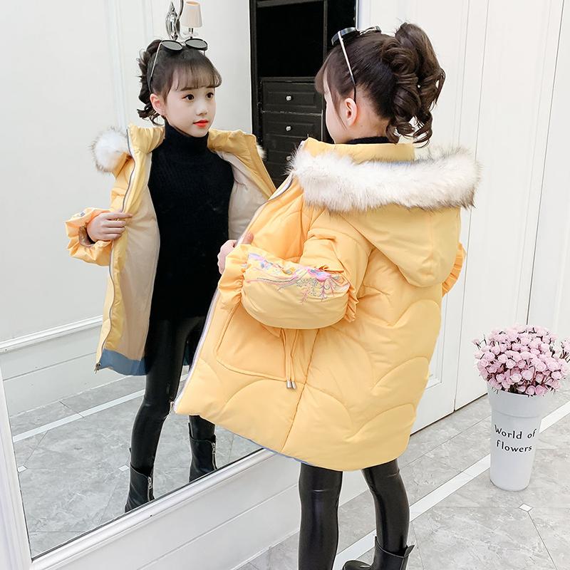 女童冬装棉衣2020新款韩版童装加厚外套中大童8岁儿童中长款棉服5
