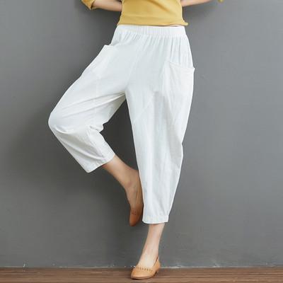 Lỏng thường bông và vải lanh bảy cánh nở quần nữ mùa hè đàn hồi eo bàn chân nhỏ cà rốt quần quần linen mỏng quần chân rộng Khởi động cắt