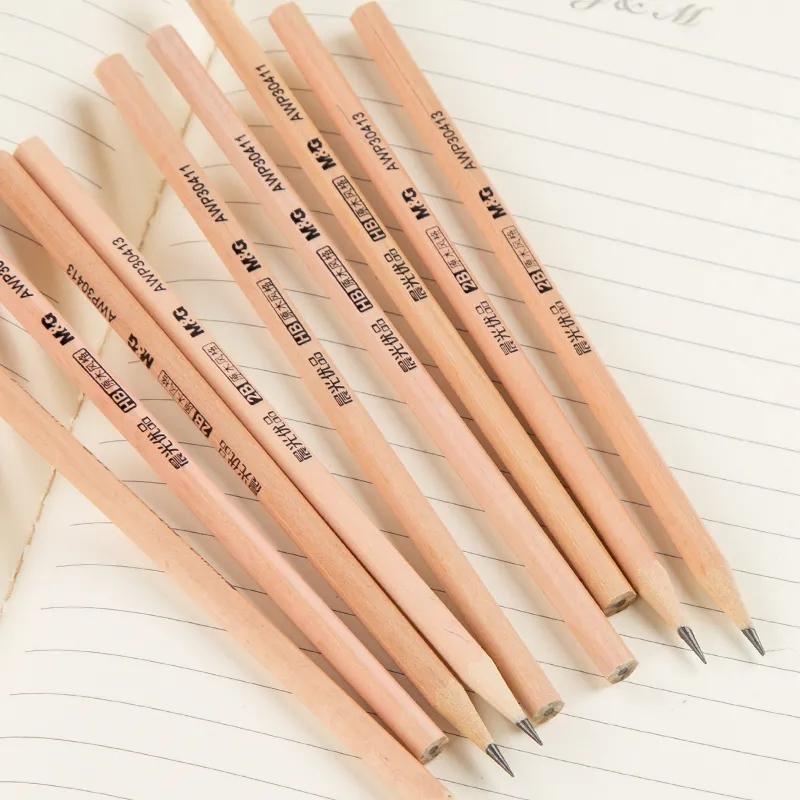 铅笔原木无毒桶装六角HB铅笔考试2B铅笔