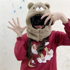 实拍723秋冬立体耳朵可爱卡通毛绒绒仿羊羔毛连脖围巾帽子