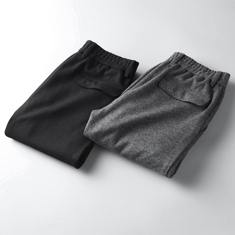 Quần len nam mùa đông mới kinh doanh giản dị quần dài co giãn quần thường nam dày phần - Quần