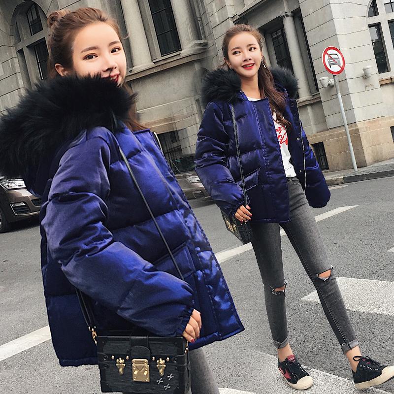 Chống mùa khuyến mãi lớn cổ áo lông thú áo khoác ngắn phụ nữ Hàn Quốc phiên bản của kích thước lớn lỏng mỏng mùa đông vàng nhung bông áo khoác phụ nữ