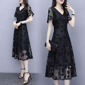 蕾丝中长款连衣裙2020夏季新款短袖气质修身显瘦A字裙百搭裙女