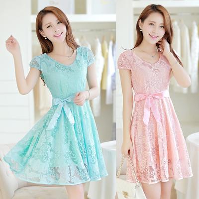 2017夏装新款女装韩版修身显瘦淑女中长款蕾丝雪纺连衣裙夏天裙子