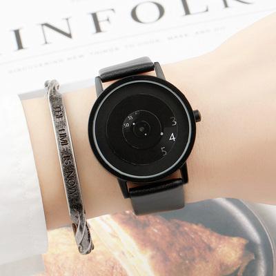 学院风复古韩版简约潮流概念创意个性转盘男女中学生防水情侣手表