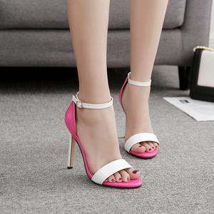 歐美外貿款秀氣簡約時尚拼色一字帶高跟涼鞋有40 碼