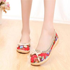 春夏新款女鞋老北京布鞋民族風繡花鞋子亞麻大碼單鞋