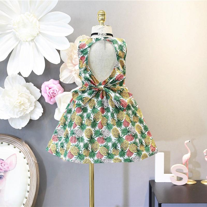 Váy trẻ em 2018 trẻ em Hàn Quốc cô gái quần áo mùa hè mới thời trang dứa backless bow vest dress