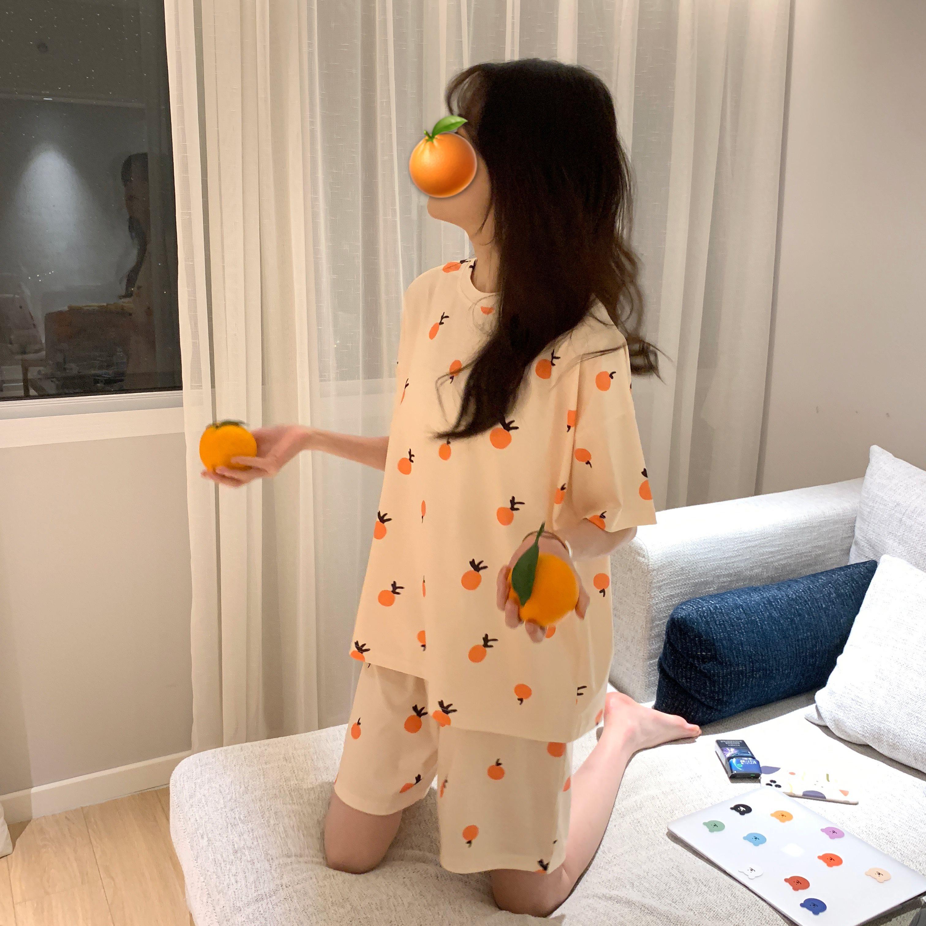 夏季2020新款可爱甜美家居服套装宽松薄款少女睡衣睡裤短裤两件套