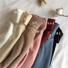 实拍实价  秋冬新款百搭修身高领纯色打底衫针织长袖套头女毛衣