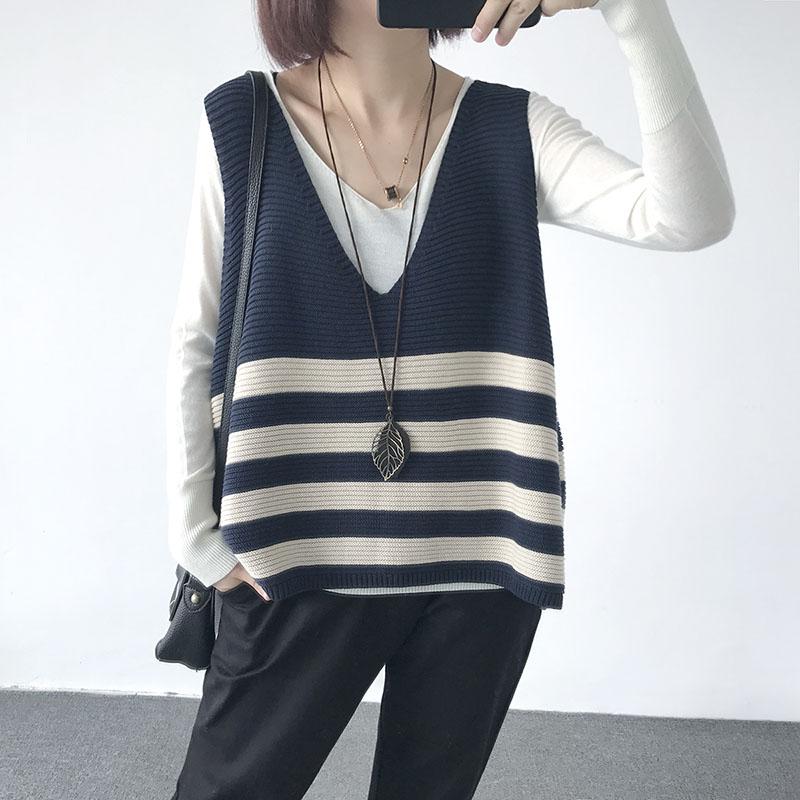 Mùa thu mới kích thước lớn vest vest áo khoác lỏng V-Cổ sọc đan vest áo len vest của phụ nữ áo sơ mi