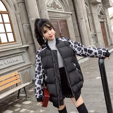 7971视频网红实拍现货2018冬新款流行色迷彩拼接加厚棉衣外套