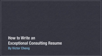 Victor Cheng Consulting Resume Toolkit麦肯锡波士顿咨询简历-淘宝网