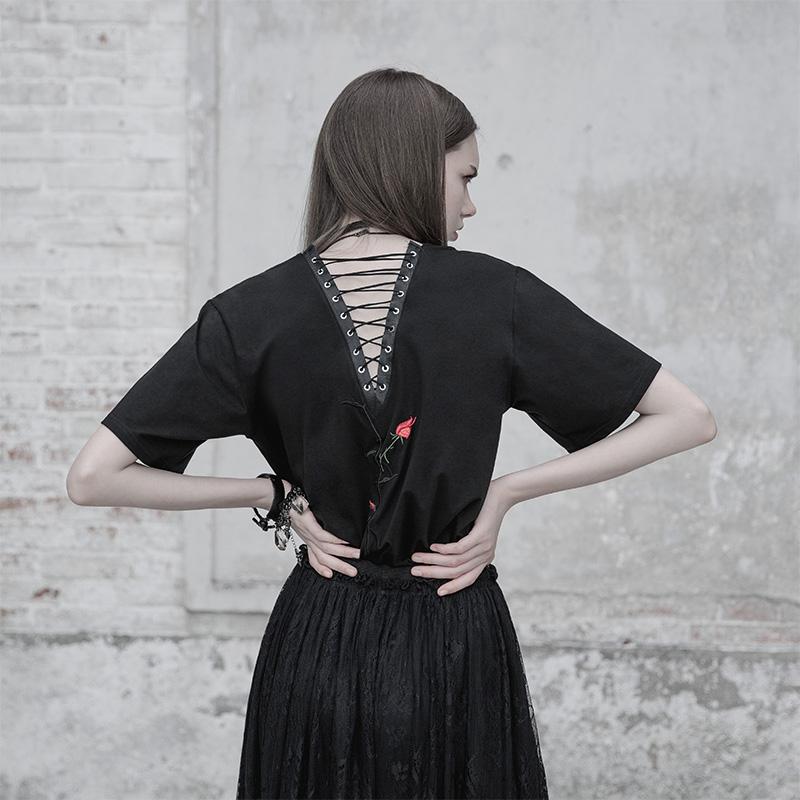 PUNKRAVEt恤女2018新款个性感露背系带宽松绣花朋克上衣夏短袖女