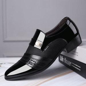 2020大码男士皮鞋男春季套脚商务皮鞋正装韩版英伦男鞋黑色休闲潮