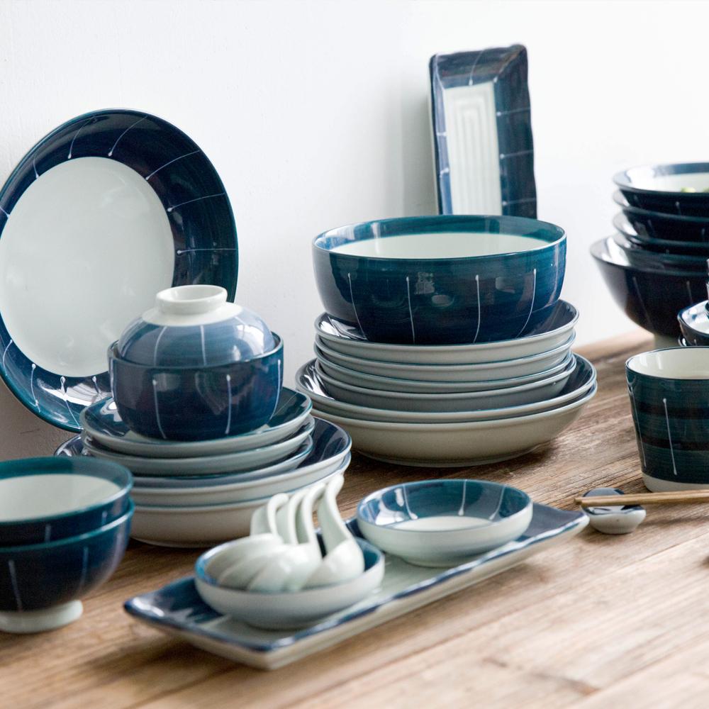 Hiện đại Bà Nội Trợ Nhật Bản-phong cách Molan Gốm Dao Kéo Đặt Hộ Gia Đình Bát Gạo Noodle Bowl Tây Dinner Tấm Mug