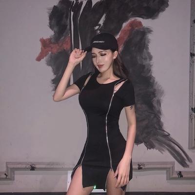 5287#模特实拍!短袖性感前后拉链裙修身包臀开叉连衣裙小黑裙