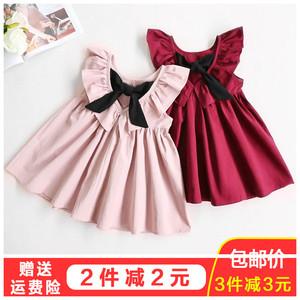 Cô gái ăn mặc mùa hè mới nữ bé không tay công chúa váy 1-4 tuổi trẻ em Hàn Quốc xếp li váy backless