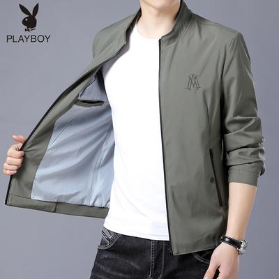 Playboy áo khoác nam mùa xuân và mùa thu mới đứng cổ áo Hàn Quốc phiên bản của mỏng đẹp trai áo khoác nam giản dị đồng phục bóng chày cổ áo Đồng phục bóng chày