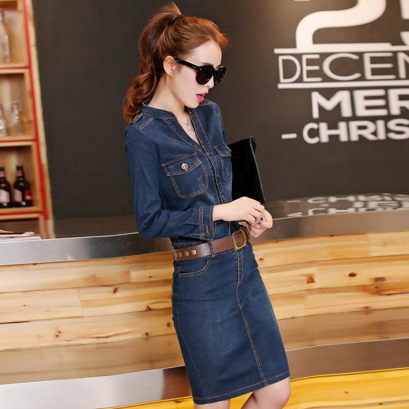 2017新款韩版时尚修身显瘦包臀长袖中长牛仔连衣裙秋季女装气质潮