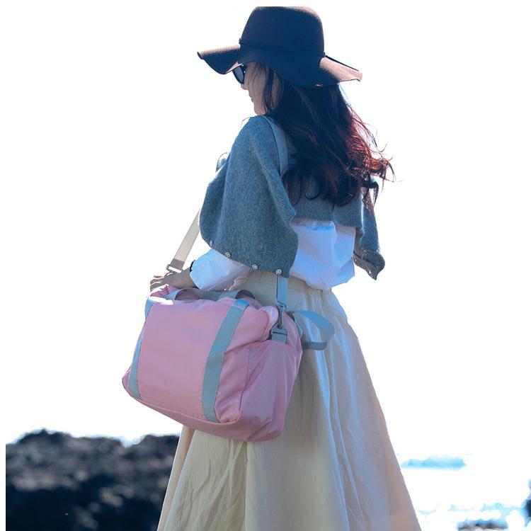 Gấp túi du lịch hành lý nữ có thể treo xe đẩy túi ánh sáng giản dị quần áo thể dục túi vai nữ túi