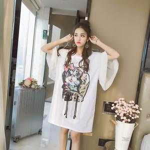 实拍7456#新款韩版猫咪印花贴布拼接喇叭袖T恤女宽松体恤裙中长款