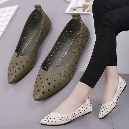 单鞋平底鞋新款镂空洞洞女鞋夏季尖头浅口一脚蹬懒人鞋透气凉鞋