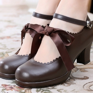 taobao agent Lolita daily original satin big bow tie high-heeled basic tea party simple handmade small leather shoes