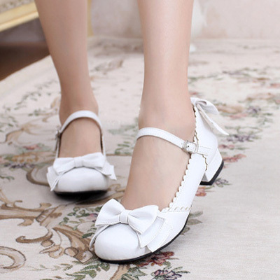 taobao agent Lolita original daily upgrade unicorn sweet round head tea party big bow cute basic small leather shoes