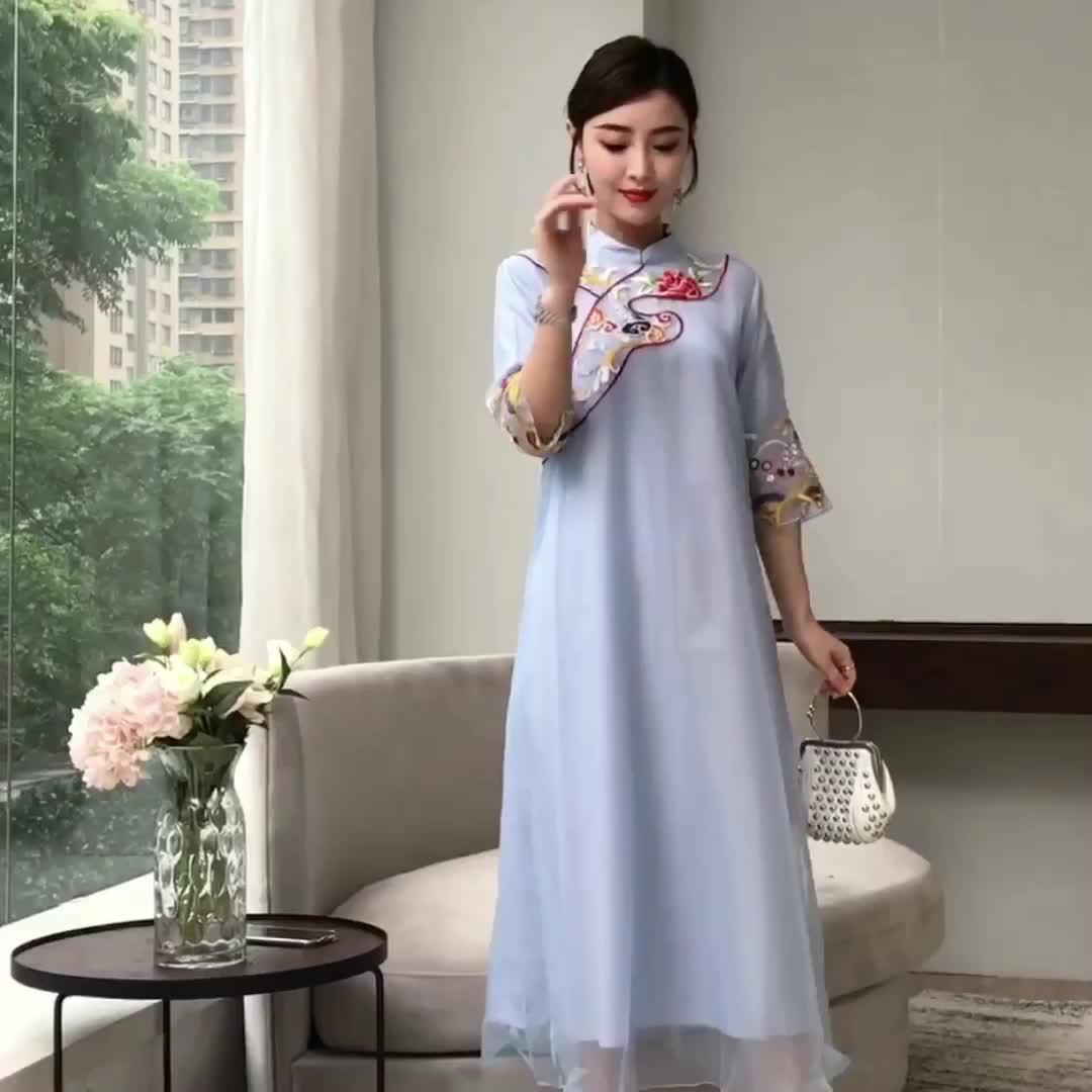 2019夏装新款 柔顺垂感中式唐装连衣裙女 复古刺绣改良版旗袍