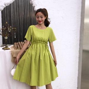 實拍連衣裙2019夏季新款復古流行裙子女氣質收腰法國小眾桔梗裙