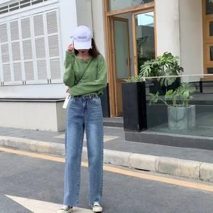 亚博娱乐平台入口限价59.高腰垂感阔腿裤女秋薄直筒cec泫雅同款拖地风牛仔裤