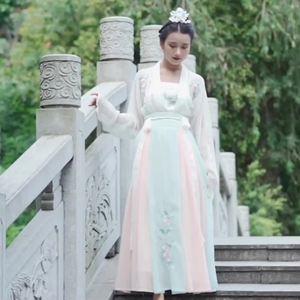 漢服女三件套仙氣飄逸古風古裝超仙改良漢元素曲裾對襟襦裙