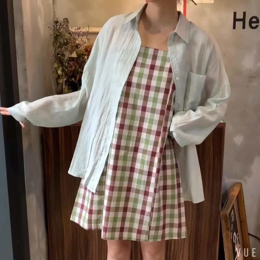 控5实拍 单排扣防晒衬衫+格子吊带裙