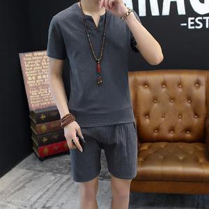 2018 mô hình vụ nổ Trung Quốc phong cách bông phù hợp với màu rắn bông nam ngắn tay quần short phù hợp với phong cách Trung Quốc mặc giản dị