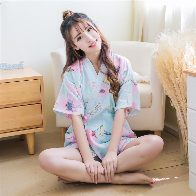 日系纯棉纱布樱花兔子和服睡衣少女可爱薄款家居服浴衣睡裙袍汗蒸