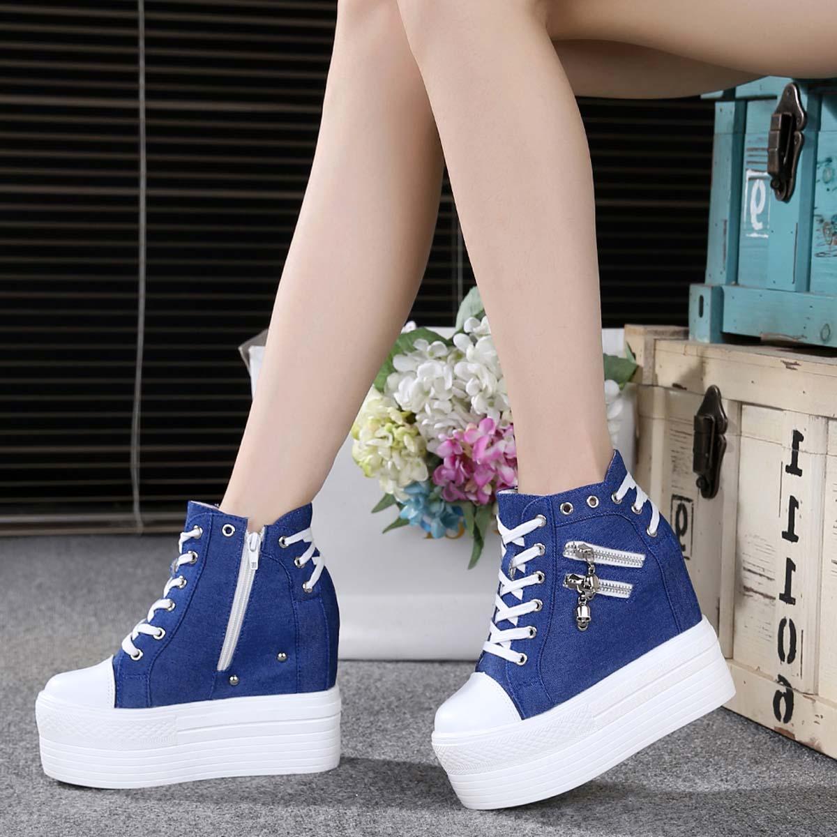 Mùa xuân và mùa thu mới trắng siêu cao gót giày của phụ nữ dày dưới miếng bọt biển bánh bên trong dây kéo phía vải cao-top giày thường