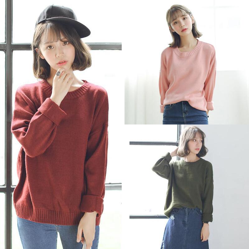 2018 mùa xuân Hàn Quốc phiên bản mới lỏng đơn giản màu rắn đáy áo len cổ tròn dài tay áo thun áo len nữ sinh viên
