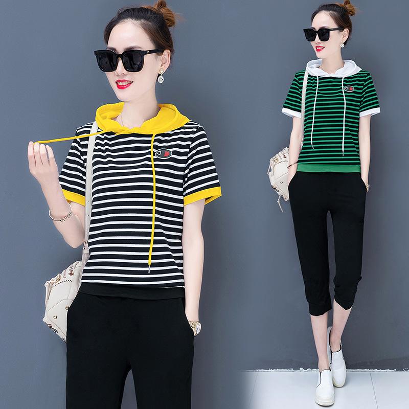 夏季运动服套装女2019新款韩版休闲宽松条纹短袖七分裤两件套潮流