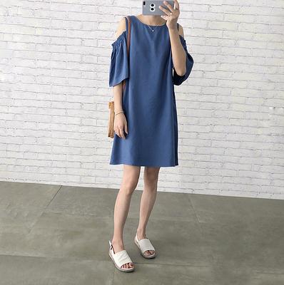 9B14 [Kẹo] quần áo mùa hè mới phun phồng tay áo trở lại Một từ màu rắn ăn mặc 4 màu sắc