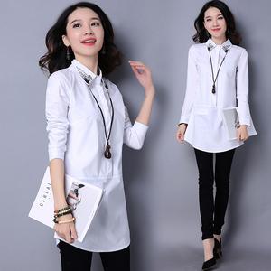 2018春装新款韩版修身中长款钉珠镶钻衬衫女长袖大码白色衬衣女
