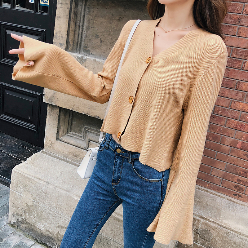 【朵维思】慵懒风毛衣外套2018秋装新款韩版宽松短款针织衫F5261